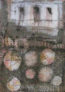 shibori eucalyptus dyed silk stitching