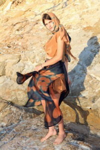 Floating silk shibori outfit with hijab and twist bolero. Eucalyptus dye Gondwana Colour and indigo