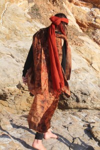 Silk Organza shibori warrior outfit dyed with Gondwana Colour Headscarf wool gauze dyed with Wollumbin Red Gondwana Colour