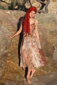 Pure merino wool Jersey dress leaf embossed with eucalyptus leaves, head shawl dyed with Wollumbin Red Gondwana Colour